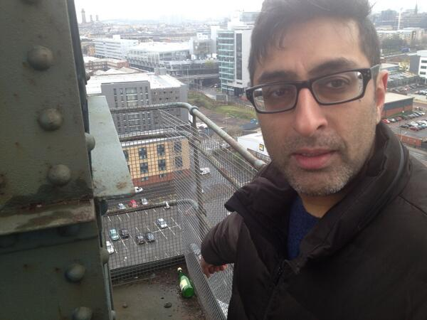 So I climb to the top of the Finnieston crane. And I find a bottle of Buckfast. FUCKSAKE GLASGOW. http://t.co/Sm2P3NnDKo