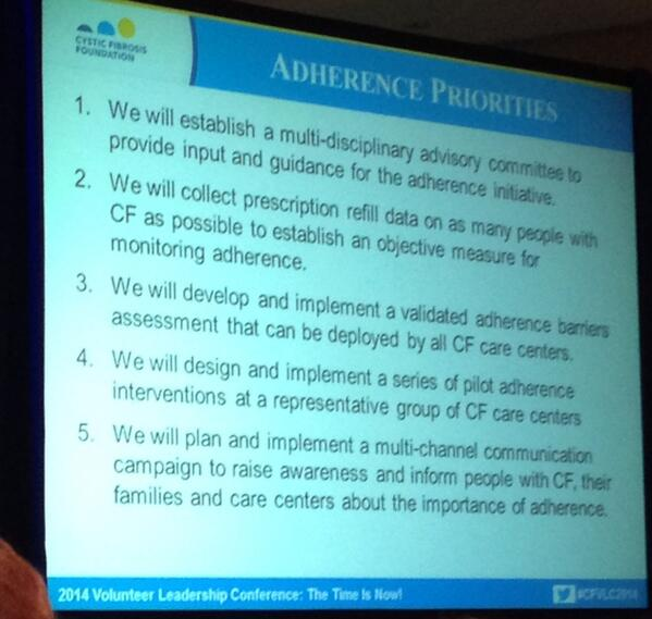 @CF_Foundation Adherence Priorities #cfvlc2014 http://t.co/jfH2t0aJty