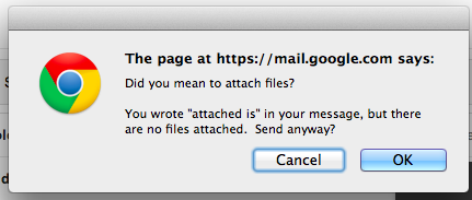 """had no idea. Gmail recognizes you used the word """"attached"""" and prompts you to remember to attach file! #gafesummit http://t.co/pLBeFvYAxt"""