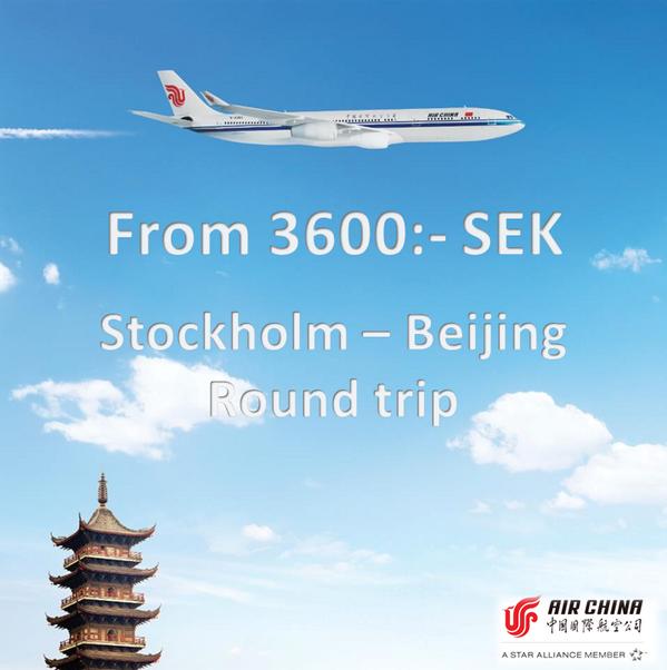 Just nu! Stockholm - Peking t/r från endast 3600:-  Boka innan den 15e april Gäller utresa 23 - 27e april airchina.se http://t.co/wMkJZkD97Q