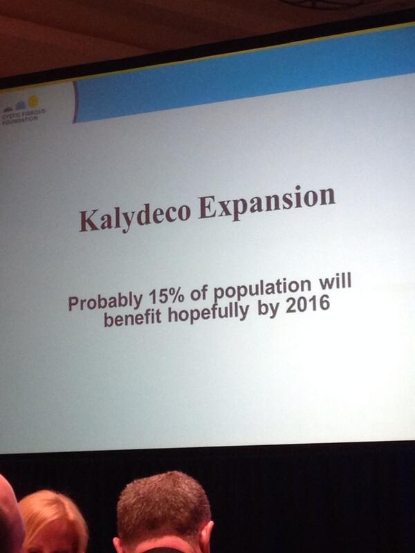 "Preston Campbell ""We believe that by 2016, 15% of population will benefit from Kalydeco."" #cureCF #cfvlc2014 http://t.co/4qW2viQoP9"