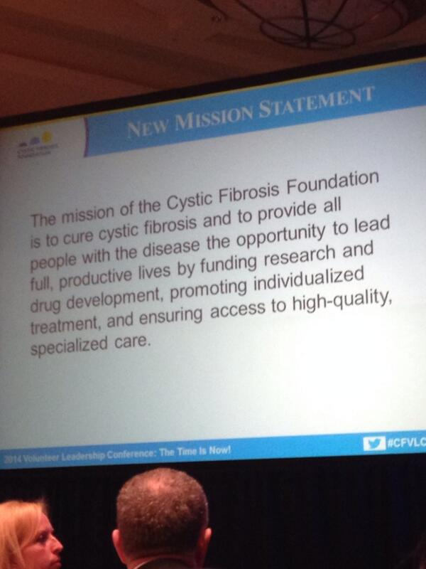"@CF_Foundation new mission statement ""to CURE #CF"". #amazing #cfvlc2014 http://t.co/eJkRHvKkO9"
