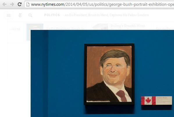 George W. Bush painted Stephen Harper. No, really. Take a look:  (Screenshot from http://t.co/2rvTjt2Dhu) http://t.co/fmTV4aduAU