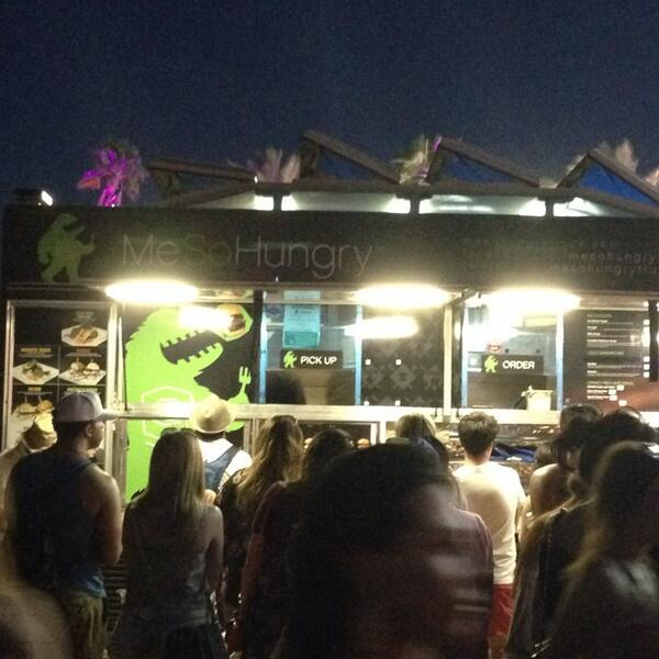 Trying @mesohungrytruck for dinner. Food trucks abound in the beer garden! #coachella #calichella2014 http://t.co/yn6FwlP5xp