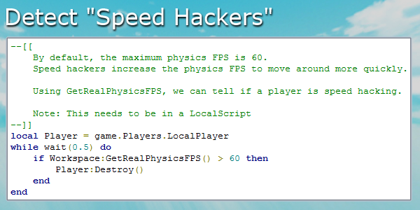 Roblox Dev Tips On Twitter Speed Hackers Begone Use