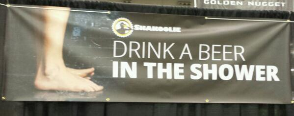 The Shakoolie booth is rocking at @ACBeerFest - what you think of our banner? #showerbeer http://t.co/zbPX1ZwT8v