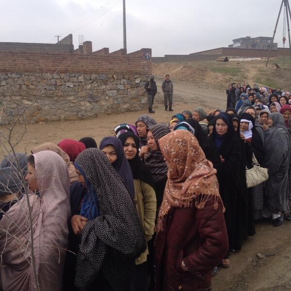 These Afghan women are not being marched into a stadium to be shot. They are lining up to vote. Well done. http://t.co/s3wZpAFvkv