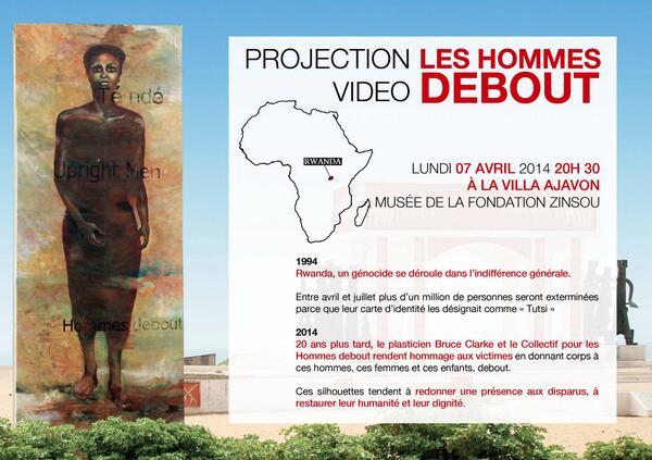 #Ouidah Projection lumineuse #LesHommesDebout le 7 avril @ZinsouFondation #Kwibuka20 #GenocidePrevention