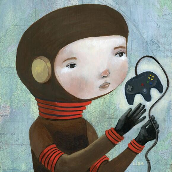 """Here's a #painting i finished recently, Cosmonaut 64, acrylic/mixed media on wood, 6""""x6"""" #art @JamesDayArt http://t.co/EjJSBMlwz7"""