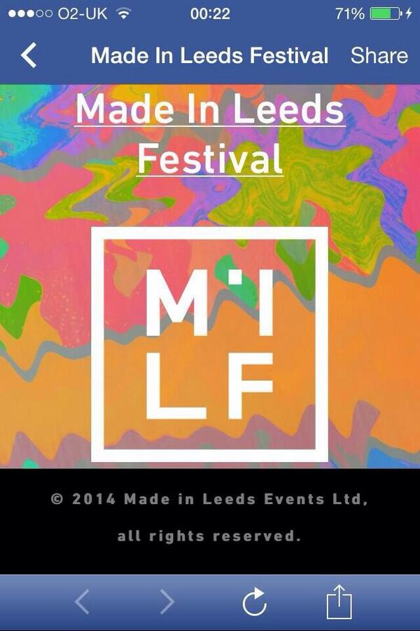 Last night I discovered the Made in Leeds Festival is in urgent need of rebranding http://t.co/uKQwLBsWFD
