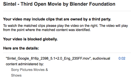 Want a reason to support Open Movies? Sony Pictures blocking Sintel on YouTube.  Join us: https://t.co/beEcInz01a http://t.co/KCNhlApj7n
