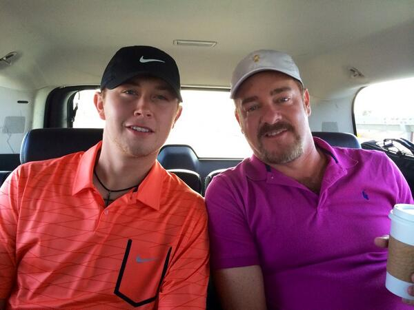 ACM golf tournament. @ScottyMcCreery got our game faces on and fuscia is rockin...#liftinglives http://t.co/ScGAXMMJjO