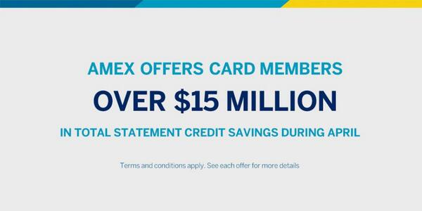Tweet #AmexOffers to grab your piece of the $15 Million in savings available to Card Members in April. http://t.co/hDPOOGe0rD