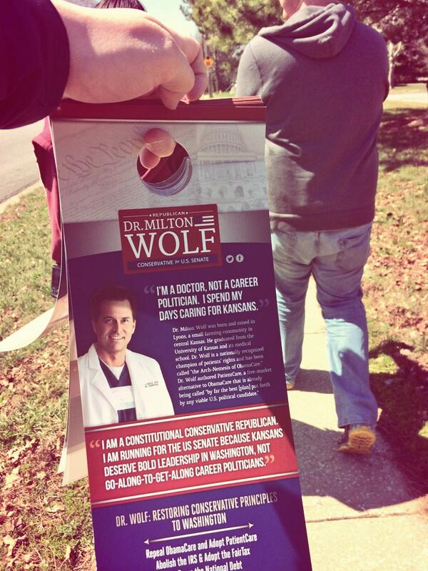 Walking around with doorhangers! #grassrootsrising #miltonwolfcampaign http://t.co/IRf2haxRTE