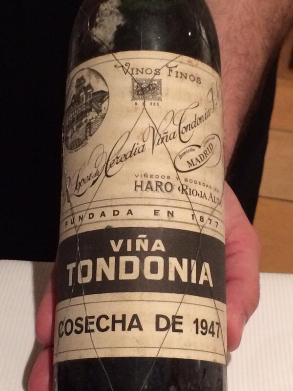 Next some seriously old Rioja- 47 Tondonia. A revelation: how well Rioja can age; wd never guess this to b 67 yrs old http://t.co/9D74U5UsVT