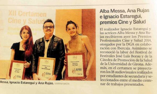 Enhorabuena @ana_rujas @AlbaMessa @iestaregui Premios #cineysalud2014 en @heraldoes hoy #DMS2014 http://t.co/4xby0a4ONF
