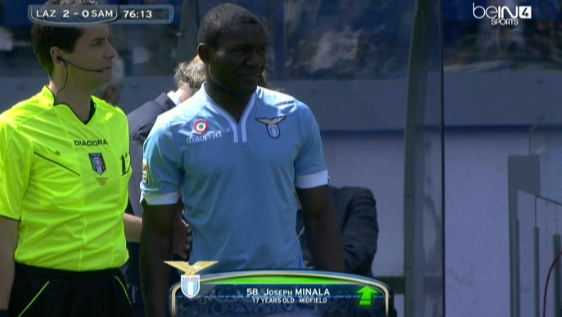 Controversial 17 year old Joseph Minala makes his debut for the Lazio first team v Sampdoria