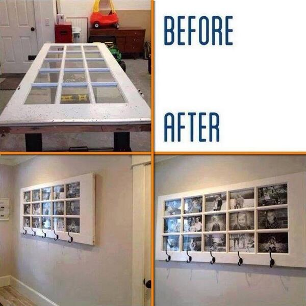 Love this idea wish I had a place in my home for this photo frame, #doors #photos #Building and Decor SA http://t.co/r2EGEpcaJT