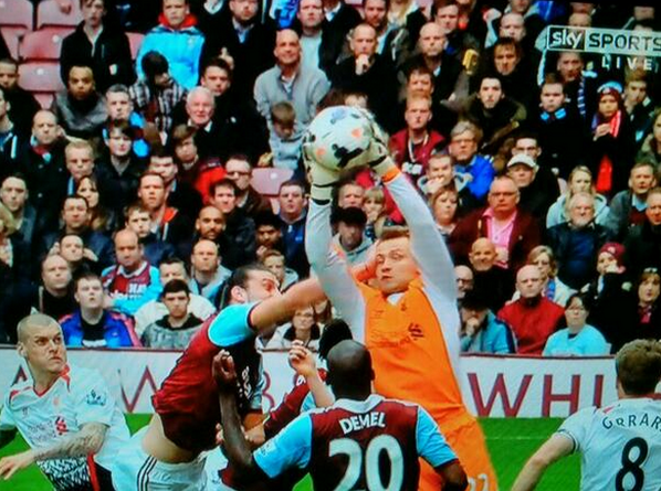 Andy Carroll quite clearly hit Simon Mignolet for West Ham equaliser v Liverpool