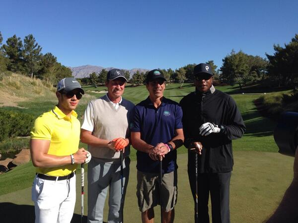 Currently on the tee box, @nickjonas @OfficialGretzky, Chris Chelios and @NBATVAhmad #MJCI http://t.co/cechyry8hj