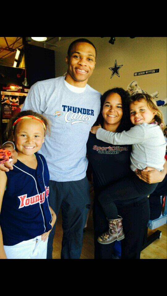 My oldest daughter & grand kids hanging w/Westbrook from Oklahoma City Thunder http://t.co/fTKO6hroLV