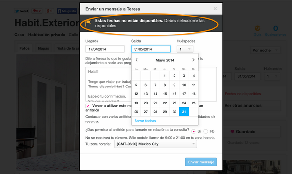 Imagen de airbnb.com con la leyenda: Estas fechas no están disponibles: debes seleccionar las disponibles