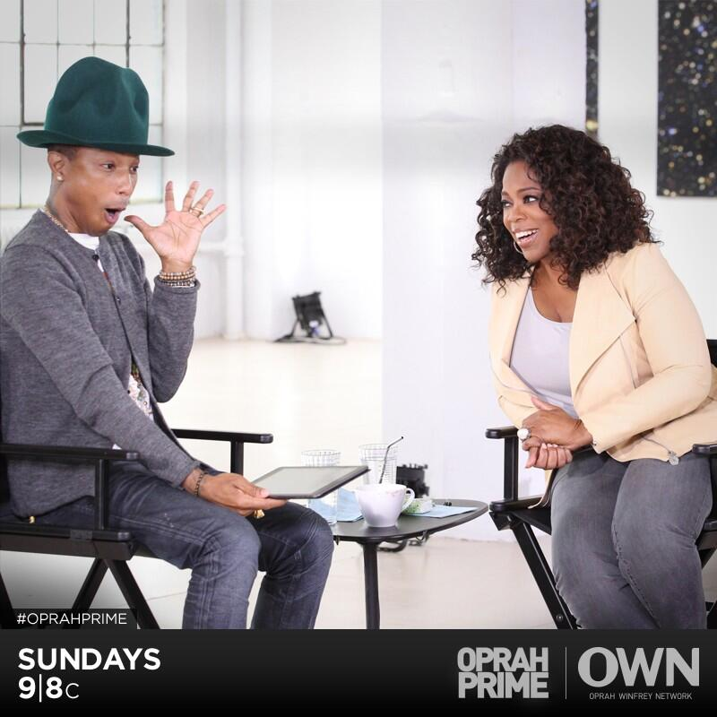 RT @OWNTV: .@Oprah's conversation w/ @Pharrell is off the charts! Retweet if you'll be tuning in! Sun, 9/8c. #OprahPrime http://t.co/7BYiON…