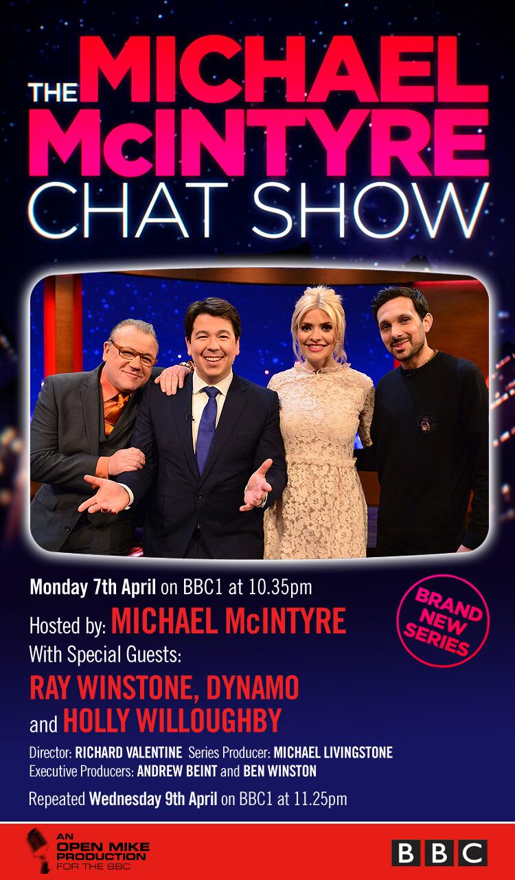RT @McInTweet: The Michael McIntyre Chat Show @BBCOne 10.35pm @hollywills,  @dynamomagician & Ray Winstone, plus Send to All & Paul! http:/…