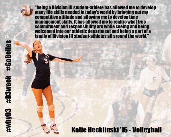 """@smcbelles: It's @NCAADIII #D3week! Katie Hecklinski tells us #whyD3 today! #GoBelles http://t.co/SJeISVbAeE""  NIVA alum @K_heckl"