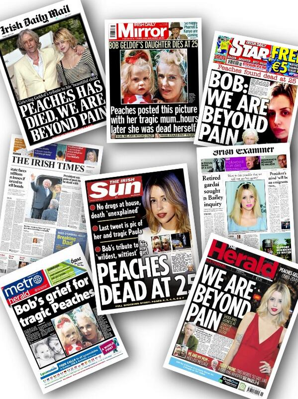 Irish front pages for Tuesday #PeachesGeldof #PeachesRIP http://t.co/lZymGZFWWV