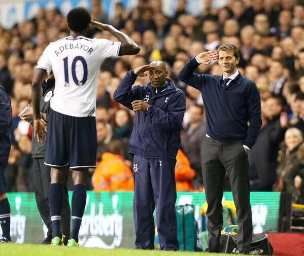 Tim Sherwood & Chris Ramsey salute Tottenhams Emmanuel Adebayor after his 2nd goal [Picture]