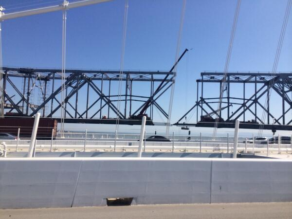 The moment of disconnection: removal of last continuous girder from the old span of Bay Bridge as seen from new span http://t.co/SPaNMbJJzB
