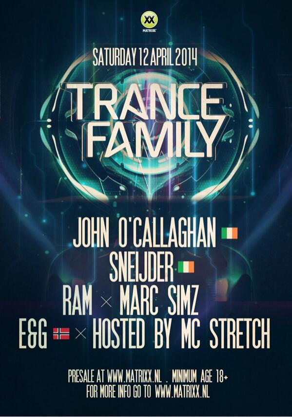This Saturday @ClubMatrixx #TranceFamily with @JOCofficial @SneijderMusic @djramnl @EandGmusic @MarcSimz  #ASOT http://t.co/EZfwV634Rt