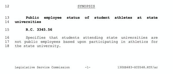 Ohio lawmakers slipped this into a budget bill. A proposal to ban student athletes from unionizing. http://t.co/P7TAWt6kdM