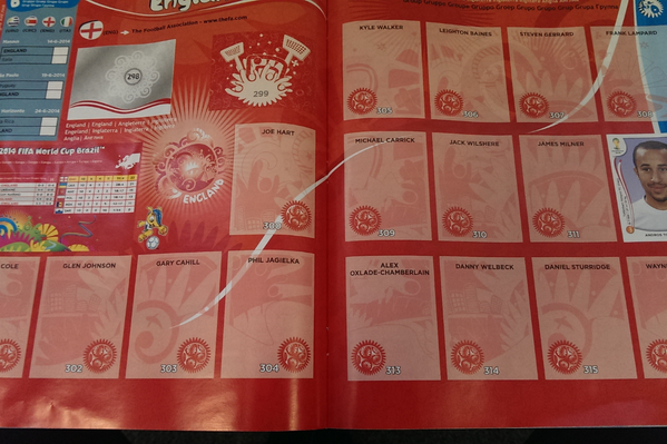 The 2014 Panini WC sticker album is out! No Saints players in the England team & Olivier Girouds hair is incredible