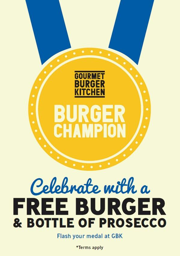 Runners. Some extra motivation. FREE burger to all @LondonMarathon 2014 medal wearers. April 13-15th. You earned it. http://t.co/TtTdu9CmN0