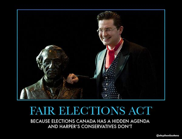 Fair Elections Act: Because Elections Canada has a hidden agenda, and Harper's Conservatives don't