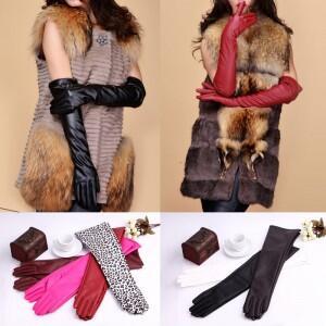 женские длинные перчатки кожаные женские в интернет магазине недорого