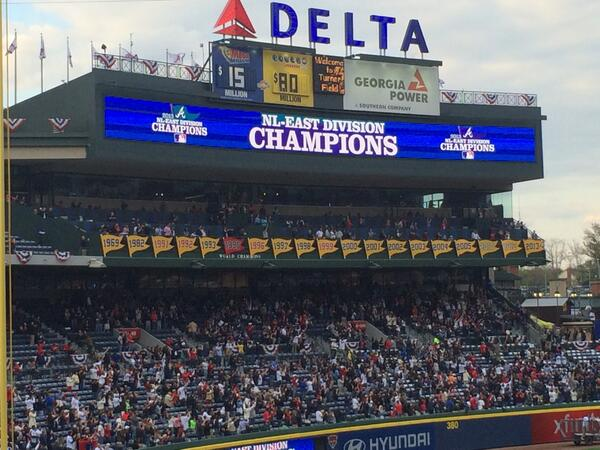 2013 Div Champ banner unveiled. They're running out of space, clearly they need a new stadium. http://t.co/kHHHOU6hUM