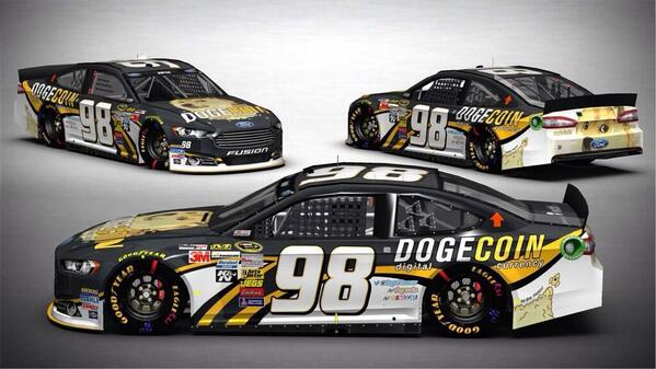 Here she is! The colors we will race @TalladegaSuperS @reddit @dogecoin  #verynascar http://t.co/AWM505KAOg
