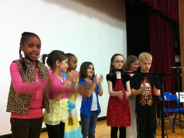 Ringing Rocks 2nd graders lead the #Pottsgrove school board & audience in anti-budget chant. (Video later) @MercuryX http://t.co/Fu3pdOfLY3