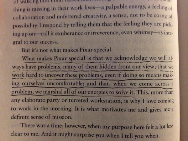 Ed Catmull is casually dropping deep insight before the first chapter even begins! http://t.co/io0lmLFmp6