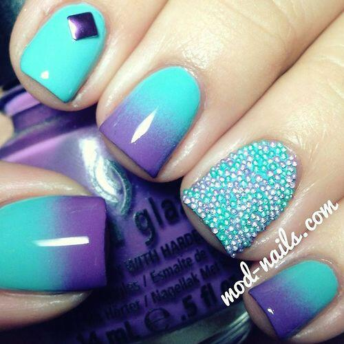 Glitties Nail Art On Twitter Turquoise And Purple Grant Nails With A Beaded Accent Beads Mani Http T Co Oeoo1zvz84