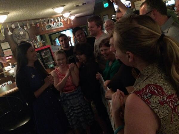 Stacy Mungo visits with her supporters at Tracy's this evening #lbvotes http://t.co/Imvizyh8MC