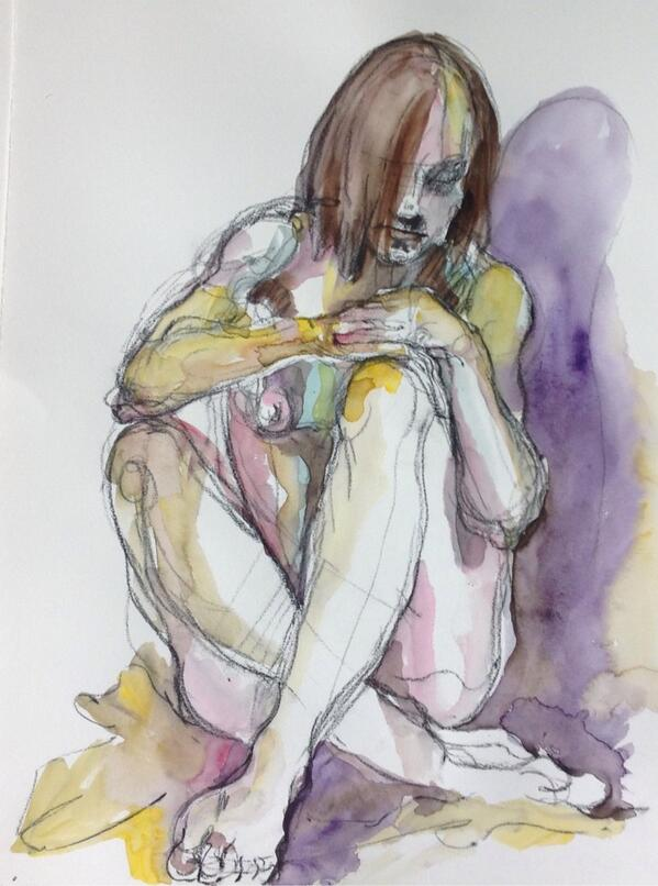 Lovely @bearprintstudio Natural light on tattooed girl,charcoal/watercolour http://t.co/7QfKbACVql