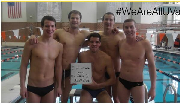 Bless the University of Virginia men's swim team for posting this picture on anti-bullying day. #DayofPink http://t.co/aAdlPZFkPv