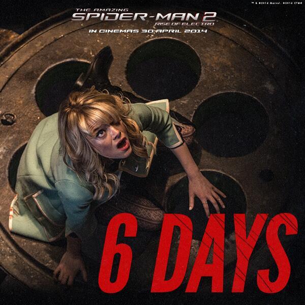 can't waiiiit<3<3 RT @Cinema21_BGR: 6 Hari lagi! THE AMAZING SPIDER-MAN 2: RISE OF ELECTRO, 30 April 2014 http://t.co/e4hWDKTMW9