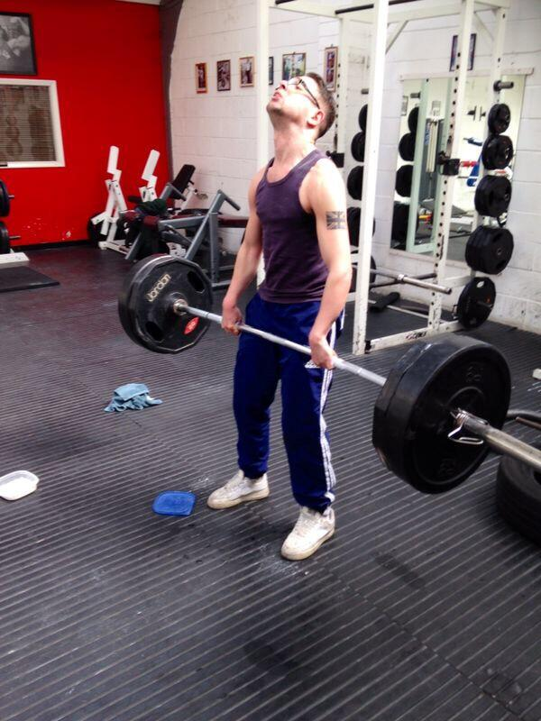My brother Spencer yesterday, he's all muscles again. 110kg dead lift! It's really helped straighten his arms! http://t.co/yLXzIfThAq