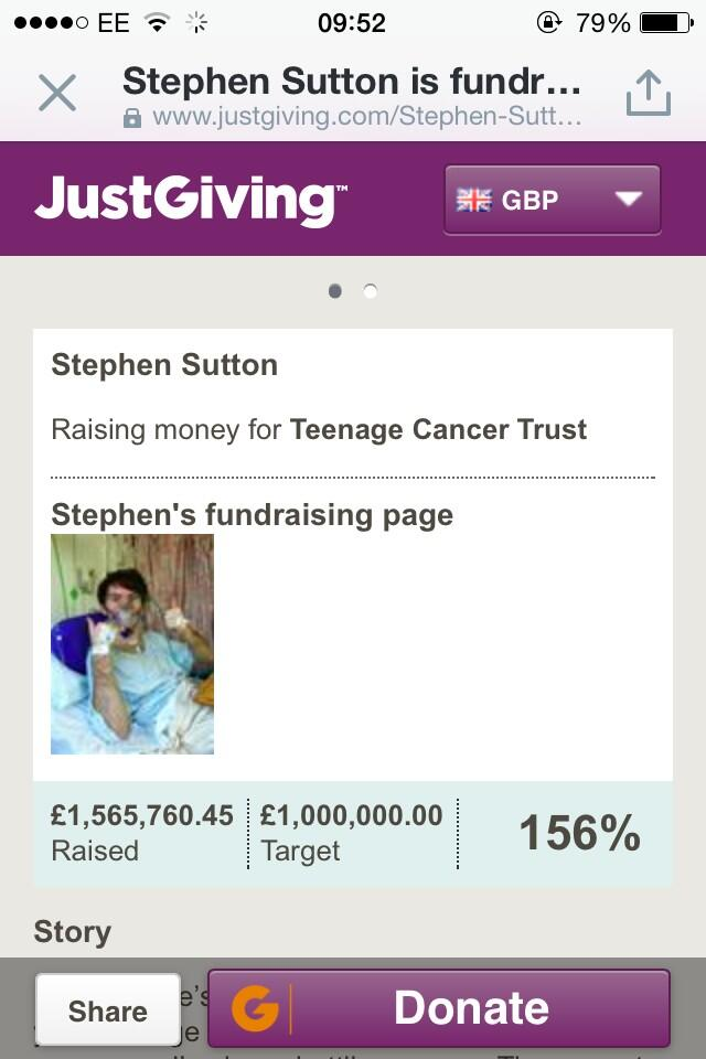 RT @joshtheboffin: £2 million is so close. I've just donated £30. Every little helps. #ThumbsUpForStephen #stephensstory http://t.co/2PvJaN…
