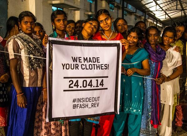 This #FashionRevolutionDay it's time to ask #WhoMadeYourClothes. Tell the world go #insideout! @Fash_Rev http://t.co/gxkXl5Woun